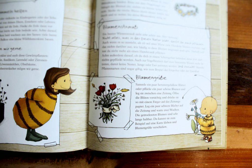Eine Seite aus die kleine Hummel Bommel entdeckt die Wiese: Blumengrüße