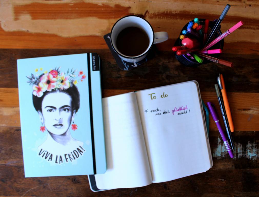 myNotes Viva La Frida! von arsEdition Notizbuch mit Frida Kahlo drauf außerdem eine To do Liste: mach, was dich glücklich macht! Kaffee trinken und planen