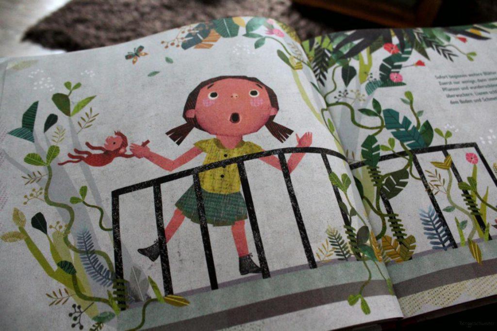 Seite aus dem Kinderbuch Floras Dschungel: ein Dschungel entsteht auf Floras Balkon