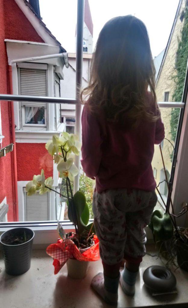 Mädchen winkt am Fenster zum Abschied