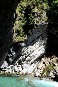 Breitachklamm Schlucht Wege an Felswänden Breitach Fluss Ostallgäu Wandern mit Kindern