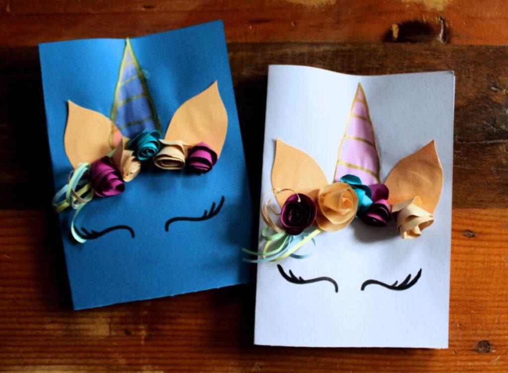 zwei Einhorn Einladungskarten