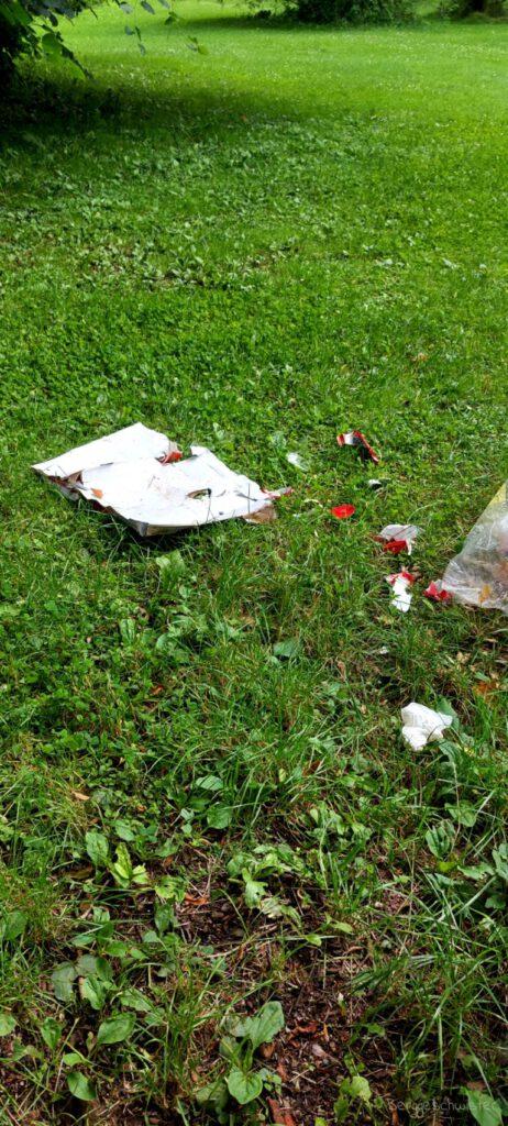Müll auf einer Wiese