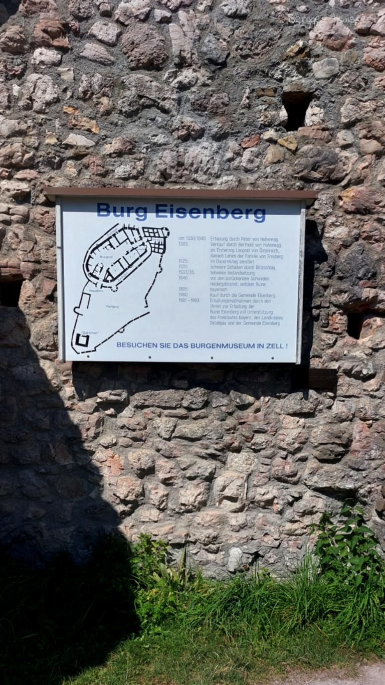 Burgruine Eisenberg Wandern mit Kindern im Allgäu Infotafel Burg